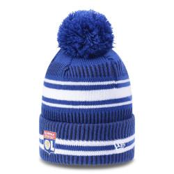 bonnet à pompon bleu de l'olympique lyonnais